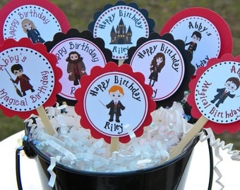Harry Potter Birthday Cupcake Toppers  - Personalized Wizard Cupcake Toppers - Harry Potter Cupcake Toppers - Wizarding