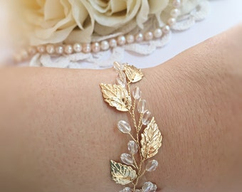 Gold leaf wedding bracelet, bridal jewelry bracelet, wedding jewelry bracelet, wedding bangle bracelet, gold bracelet, bracelet bridal