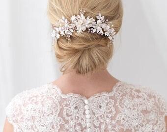 Floral Bridal Back Comb, Rhinestone Bridal Hair Comb, Ivory Flower Hair Comb, Bridal Hair Accessory, Flower Comb, Bridal Hair Comb ~TC-2303