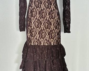 Flamenco Dress vestido de flamenco dark purple lace sizes Small and Medium