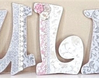 Custom Nursery Letters, Baby Name, Girl Nursery Decor, Wooden Letters, Personalized Baby Shower Gift, Kids Wall Art- The Rugged Pearl