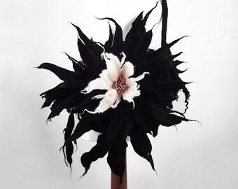 Black Bag Flower Handbag Felted Bag BLACK FLOWER BAG Black Purse Gothic Bag Nunofelt Bag Nuno felt shoulder bag fairy floral fantasy