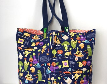 Vegging Out Diva Market Bag - Farmer's Market Shopping Tote - Cotton Tote
