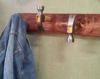 Upcycled Hammer Coat, Hat, Tie Rack. Industrial. Recycled Tools, Clothing Hanger. Deck, Bar, Man Cave, Bedroom, Home Decor. Free Shipping!!