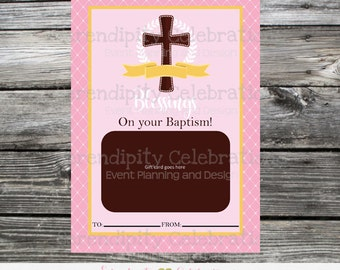 Printable Gift Card Holder, Instant Download, Baptism, Baptism Gift Card Holder, Religious, Baptism Gift, Girl Baptism Gift Card Holder
