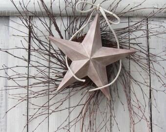 Patriotic Wreath - 4th of July Wreath - Summer Wreath - Farmhouse Wreath - Shabby Chic Wreath - Farmhouse Decor - Memorial  - Star Wreath