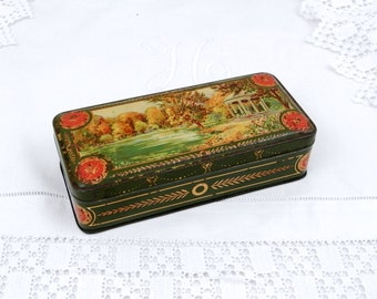 Antique French Rectangular Cookie Metal Tin with a Classical Watercolor Style illustration, Candy, Sweet Box, French Country Decor, Chateau