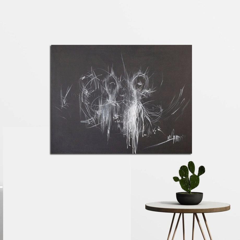 Black And White Canvas Art Abstract Ballerina Art Giclee
