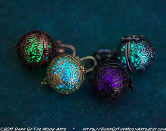 Silver, Gold, Copper or Black Roses Luminous Glow In The Dark Pendant Locket Glowing Necklace in Green, Aqua, Purple or Seafoam | Steampunk