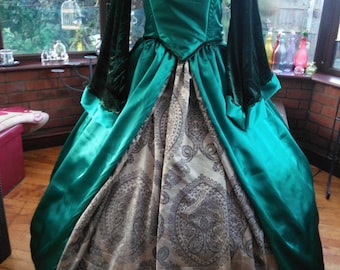 Custom made Anne Bolyne gown/headress has oversleeves & hooped petticote Anne Bolyne Tudor queen fairy princess stage party banquet