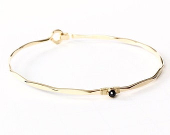 Genuine Black Diamond Bracelet / Diamond Solitaire Bangle / Rose Gold Hook and Eye Bangle / April Birthstone / Mother Jewelry / Gift for He