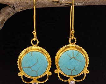 Handcrafted Artisan 24K Yellow Gold over 925 Sterling Silver Natural Turquoise Ancient Roman Art Designer Dangle, Hook Gemstone Earrings