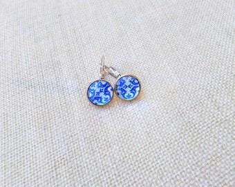 Portuguese tile earrings, Azulejos, Portuguese jewelry, Mini size earrings, Blue and White