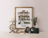 Custom house Portrait, home drawing personalized house drawing housewarming gift wedding present gift for mom gift for dad, Printable Wisdom