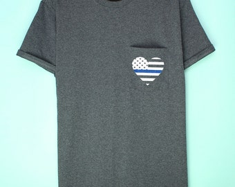 Police love pocket Tshirt, Thin blue line police support Tshirt, American heart flag police Tshirt, Support blue lives shirt