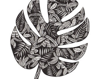 Monstera Leaf Patterned Art Print A3