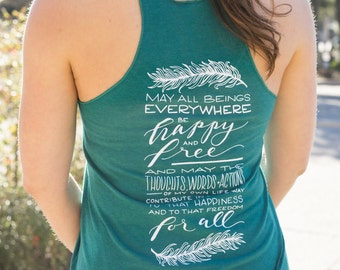 May All Beings Be Happy and Free Unique Yoga Tank | Feather Tank | Lokah Samastah Sukhino Bhavantu | Inspirational Tank | Spiritual Clothing