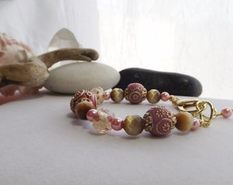 Chunky Pink, Tan Adjustable Beaded Bracelet with Clay, Lampwork, Glass Beads, Gold, Vintage Look, Wedding, Spring, Summer, Jesse James Beads