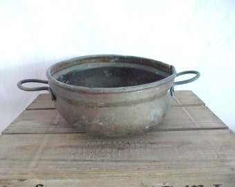 antique bronze cooking pan- old kitchen vintage