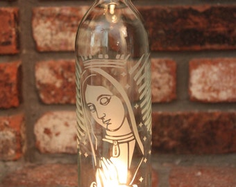 Lantern Our Lady of Guadalupe - Clear (Stand & Candle Included) - Home Decor, Eco Friendly, Stars, Pray, Faith