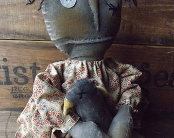 Primitive Black Rag Doll Handmade Rag Doll And Crow