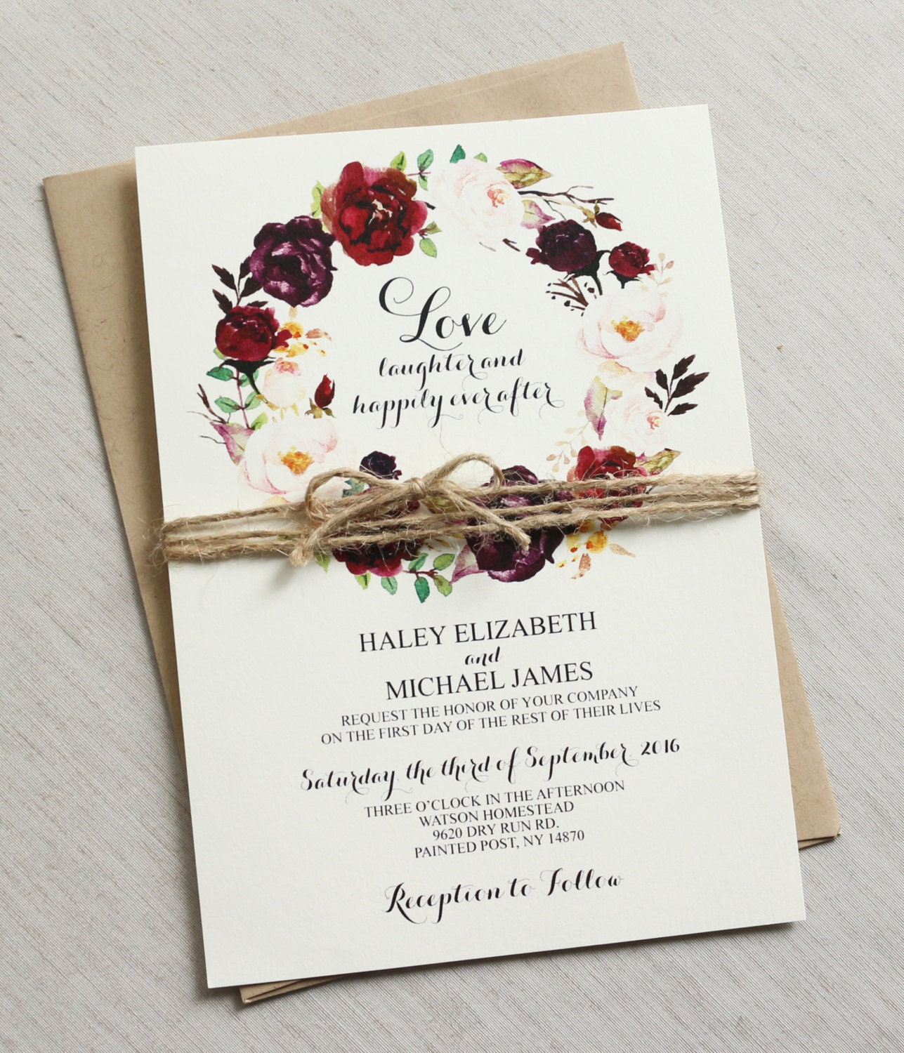 Wedding Images For Invitations: Rustic Wedding Invitation Burgundy Wedding Invitation