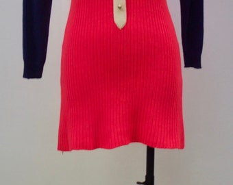 Vintage 1970s Stylish Bright Pink And Navy Puccini Mod Turtleneck Wool Dress