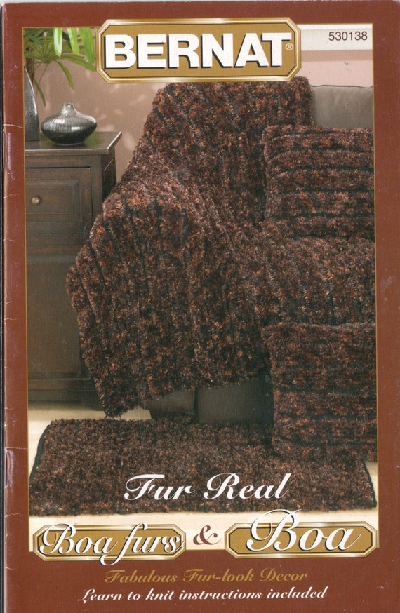 bernat knitting pattern booklet 530138 boa and fur home decor
