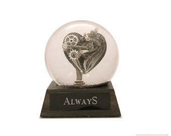 Always glass heart OoaK sparkle snow globe