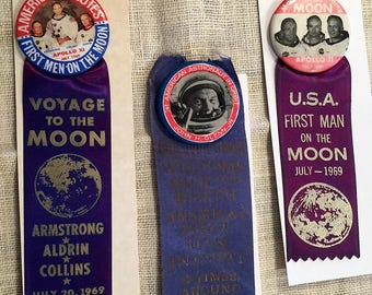 Vintage Historical Space Missions and Astronauts Pinback buttons w Ribbons - Glenns's Orbit - Armstrong, Aldrin, Collins Moon Landing