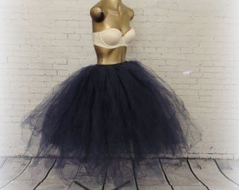 Navy tea length tutu for women adult tutu navy wedding tutu navy blue sewn tutu skirt senior portrait engagement photo prop