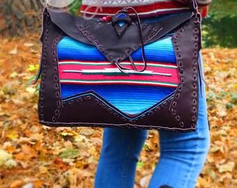 Hand Stitched Brown Leather Serape Shoulder Bag, Brown Leather Bag, Leather Bag, Tribal Bag, Serape Bag, Hippie Bag, Boho Bag, Cowgirl Bag