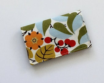 Red Berry Business Card Holder, Red Business Card Case, Fabric Business Card Holder, Gift Card Holder