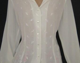 LAURA ASHLEY Vintage Floral Sprig Embroidered Sheer Cream Blouse, Large