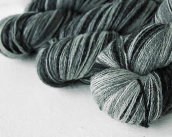 Gradient Aade Long artistic wool, Yarn for knitting, crochet.  Black-White gradient yarn