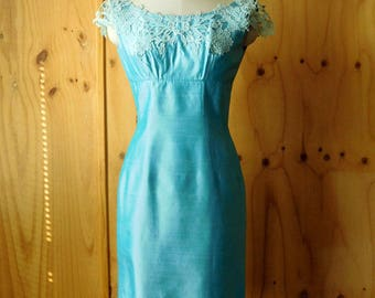 Sugary Turquoise Shantung and lace Fitted Cocktail Dress Extra Small