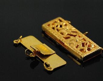 Vintage Necklace Clasp-Vintage Filigree Box Clasp-Marvella Clasp-Art Deco Box Clasp-Vintage Gold Clasp-Gold Filigree Clasp-NOS-Box Clasp