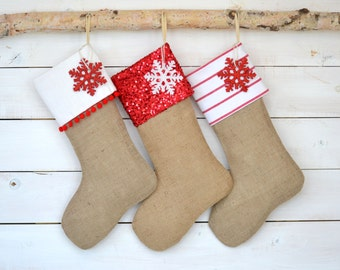 Burlap Stockings Set of 3 - Red & White Collection - Family Stockings, Stockings, Monogrammed Stockings, Stocking Set
