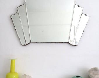 Vintage Art Deco Mirror Large Fan Shape Mirror
