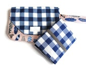 Navy Plaid Small Diaper Bag - Diaper Clutch with Travel Changing Pad