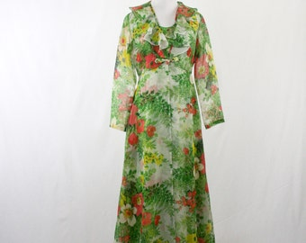 1970s Garden Party Chiffon Maxi Dress with Sheer Matching Coat Frog Closure
