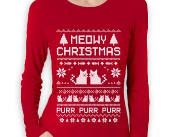 Meowy Christmas Ugly Sweater - Women's Long Sleeve T-Shirt