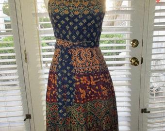 Vintage 1960's Indian Gauze Hippie Wrap Halter Sun Dress - xs/small