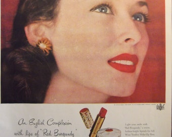 YARDLEY Red Burgundy Lipstick Original Vintage Beauty Ad Perfume Cologne Fragrance Additional Ads Ship Free Ready To Frame