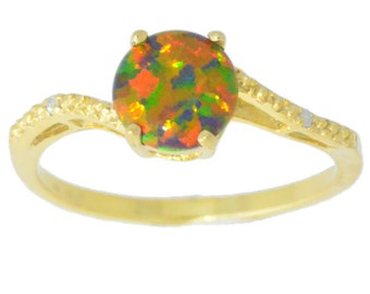 14Kt Yellow Gold Plated Black Opal & Diamond Round Ring