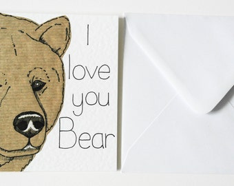 Funny love card-Pun Valentine's card, Birthday or anniversary card-I love you bear card-Funny Pun Valentines card-Same sex Valentine's card