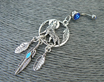 wolf belly ring,wolf dreamcatcher, dreamcatcher belly ring, Blue feather, moon belly ring,,boho, beach,festival,  tribal fusion