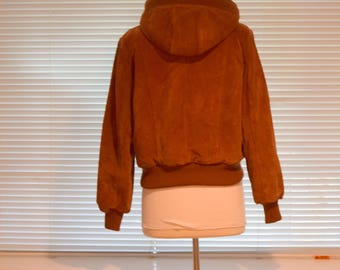 Rust Suede 'Wilson' Bomber Jacket with Hood and Sherpa Lining - Women's Small to Medium