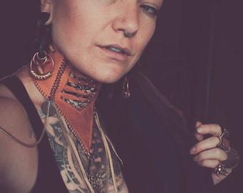 Goddess tribal steampunk leather choker neck piece corset - Gold
