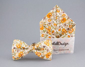 Orange Bow Tie Orange Pocket Square Floral Matching Set Floral Bow Tie Mens Bow Tie Floral Pocket Square Orange Matching Set Grooms